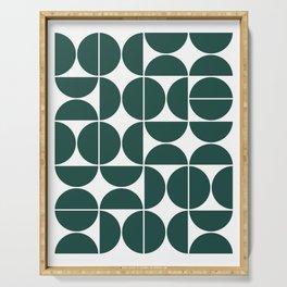 Mid Century Modern Geometric 04 Dark Green Serving Tray