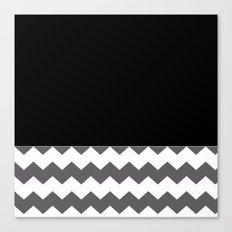 Chevron Gray Black And White - Glamour Canvas Print