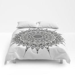 Meditation Mandala - Black Ink Comforters