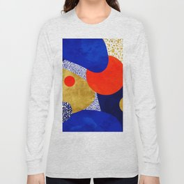 Terrazzo galaxy blue night yellow gold orange Long Sleeve T-shirt
