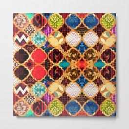 N96 - Heritage Traditional Islamic Moroccan Tiles Style Artwork. Metal Print