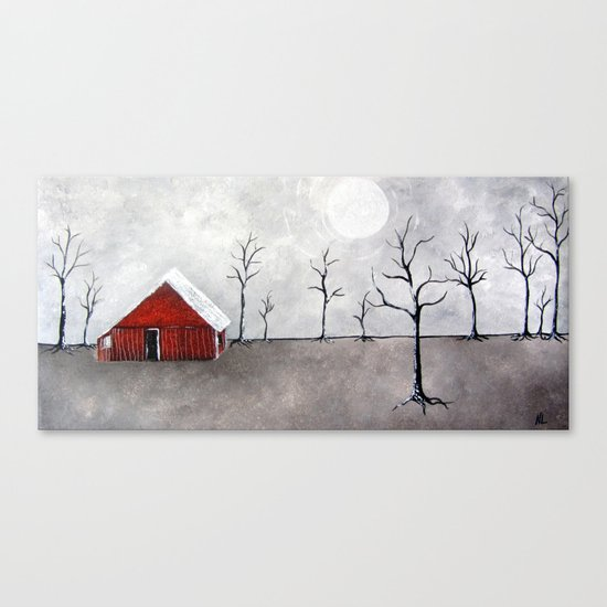 Red Barn Painting Barns Trees nature landscape art serene lonely minimalist minimal Canvas Print