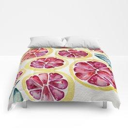 Sliced Grapefruits Watercolor Comforters