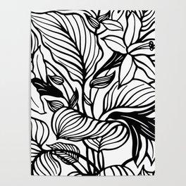 White Black Floral Minimalist Poster