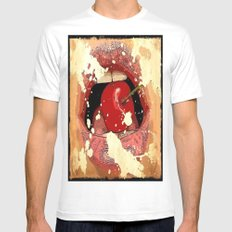 Red Cherry Lips Mens Fitted Tee White MEDIUM