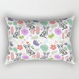 Tiger and Jungle Florals Rectangular Pillow