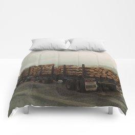 Loggers in the Rain Comforters