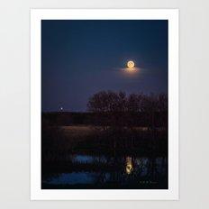 Supermoon Reflected Art Print