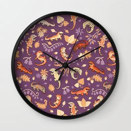 Autumn Geckos in purple Wall Clock