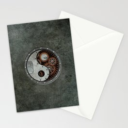 Industrial Steampunk Yin Yang with Gears Stationery Cards