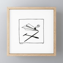 Ninja flies a Paper Plane Framed Mini Art Print