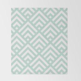 Turquoise Blue geometric art deco diamond pattern Throw Blanket