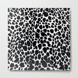 Animal Print Cheetah Black and White Pattern #4 Metal Print