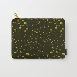 Yellow iridescent drops on a black background in nacre. Carry-All Pouch