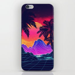 Neon glowing grid rocks and palm trees, futuristic landscape design iPhone Skin