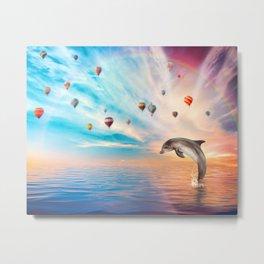 Dolphin with an Ocean Sunset Sky Metal Print