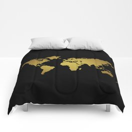 Black and Gold Foil World Map Comforters