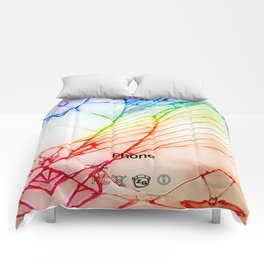 Rainbow Broken Damaged Cracked out back White iphone Comforters