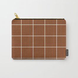 White Grid - Brown BG Carry-All Pouch