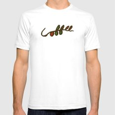 Coffee Branch White Mens Fitted Tee SMALL