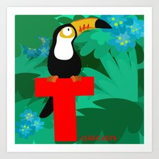 t for toucan Art Print