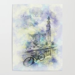 AMSTERDAM Prinsengracht   jazzy watercolor Poster