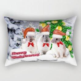 Schneehasen wünschen: frohe Weihnachten Rectangular Pillow