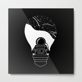 Space Odyssey | Lightbulb | Astronaut | Black and White | Cosmos | Stars | Galaxy | pulp of wood Metal Print