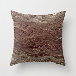 Dark Brown Marble texture Throw Pillow