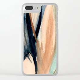Waves - a pretty minimal watercolor abstract in blues, pinks, and browns Clear iPhone Case