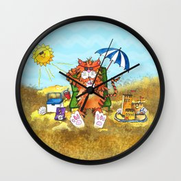 Cat at the Beach Wall Clock
