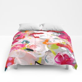 Dream flowers in pink rose floral abstract art Comforters
