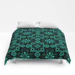 Retro . Black turquoise ornament . Comforters