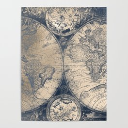Antique World Map White Gold Navy Blue by Nature Magick Poster