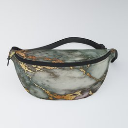 Gray Green Marble Glitter Gold Metallic Foil Style Fanny Pack