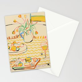 YELLOW TULIPS, WINE AND CHEESE Stationery Cards