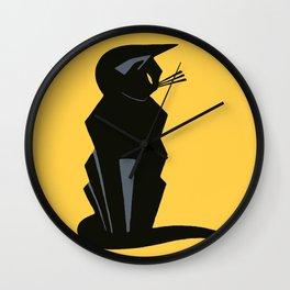 Art Deco Vintage Black Cat Wall Clock