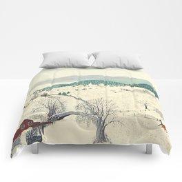 Anna Mary Robertson 'Grandma' Moses To Grandma's House We Go on Thanksgiving Day Folk Art Comforters