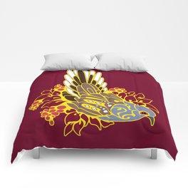 Diamond dove bird tribal tattoo Comforters