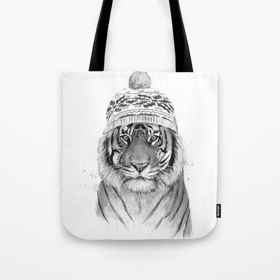 Siberian tiger (b&w) Tote Bag