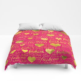 Fashion Word Art witth Gold hearts on Bright Pink, Comforters