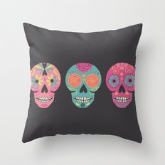 Three Amigas Sugar Skulls Throw Pillow