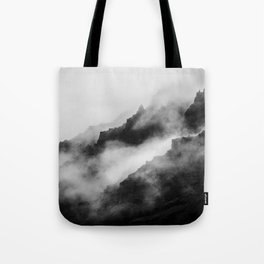 Foggy Mountains Black and White Tote Bag