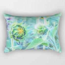 sunflower - turquoise Rectangular Pillow