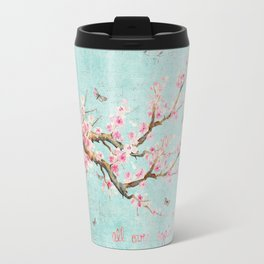 Its All Over Again - Romantic Spring Cherry Blossom Butterfly Illustration on Teal Watercolor Travel Mug