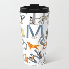 Dog Breed Alphabet Metal Travel Mug