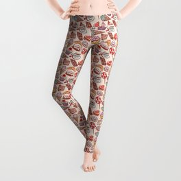 Hand drawn confectionery croissant Cupcake candy ice cream cake donut and coffee Leggings
