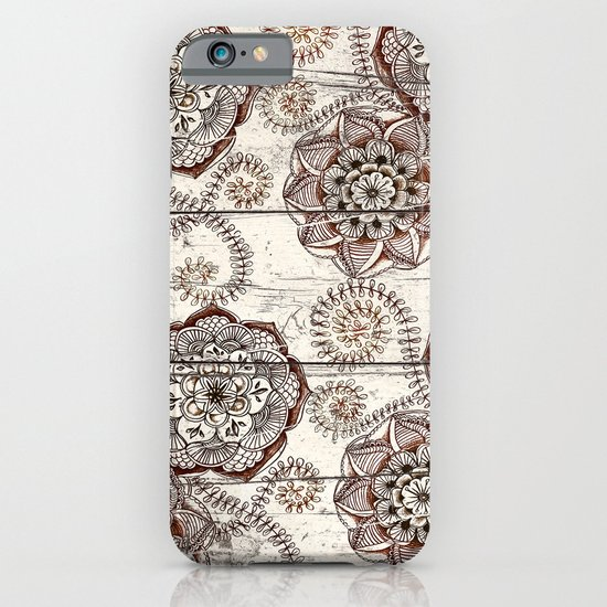 Coffee & Cocoa - brown & cream floral doodles on wood iPhone & iPod Case