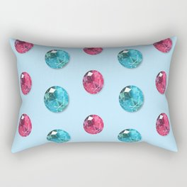 Faceted Oval Gemstones Pattern Rectangular Pillow