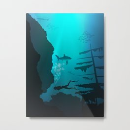 Beautiful coral reef and silhouettes of diver and school of fish in a blue sea Metal Print